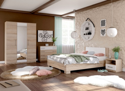 Spálňa AVRORA 5, s posteľou 160x200 cm - dub sonoma / biela
