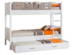 Detská poschodová posteľ Archie 100x190cm so zásuvkou - biela/dub svetlý