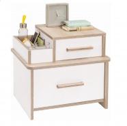 Moderný nočný stolík Archie - biela/dub svetlý