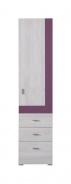 Úzka skriňa Delbert 4 - bielená borovica/fialová