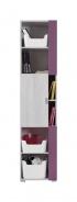 Úzka skriňa Delbert 6 - bielená borovica/fialová