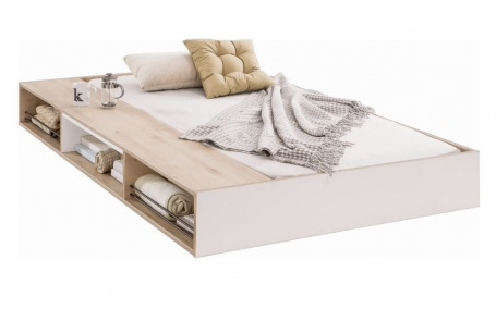 Zásuvka pod posteľ Archie 90x190cm s úložným priestorom - biela / dub svetlý