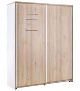 Šatníková skriňa Archie s posuvnými dverami - biela/dub svetlý