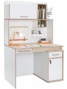 Rozkladací písací stôl Archie s nadstavcom - biela / dub svetlý