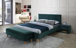 Čalúnená posteľ Azurro VELVET 160x200 - zelená / dub