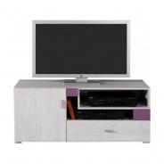 Televízny stolík Delbert 12 - bielená borovica/fialová