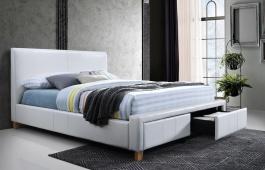 Čalúnená posteľ Neapoli 160x200 - biela ekokoža