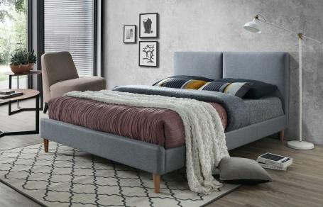 Čalúnená posteľ ACOMA 160x200 - sivá / dub