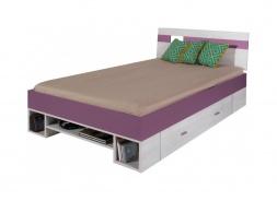 Detská posteľ Delbert 120x200cm - borovica / fialová
