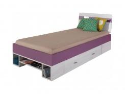 Detská posteľ Delbert 90x200cm - borovica / fialová