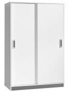 Šatníková skriňa s posuvnými dverami Trafic 4 - biela / popolavá
