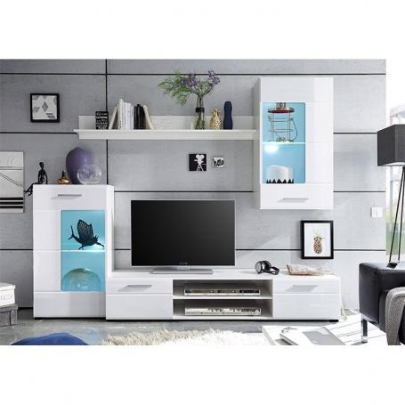 Obývacia stena HENRI NEW - biela extra vysoký lesk high gloss / biela