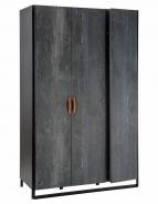 Trojdverová šatníková skriňa Nebula - sivá / čierna