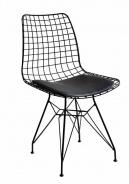 Kovová stolička s polstrovaním Nebula - čierna