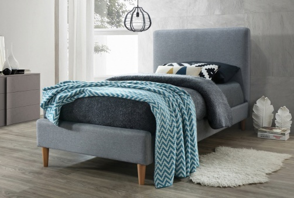 Čalúnená posteľ ACOMA 90x200 - sivá / dub