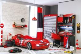 Veľký detská izba Rally - červená/antracit