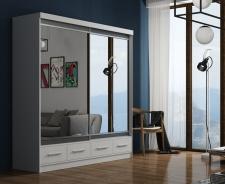 Šatníková skriňa so zrkadlom MARGO 200 - biela