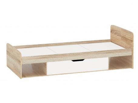 Detská posteľ s úložným priestorom STELS 90x200cm - dub sonoma/biela