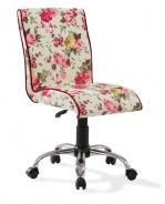 Vintage stolička na kolieskach Orchid so vzorom - kvety
