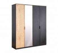 Štvordverová šatníková skriňa so zrkadlom - dub čierny/dub zlatý