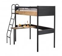 Vyvýšená posteľ so stolom Sirius 90x190cm - dub čierny/dub zlatý