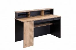 Veľký písací stôl s nadstavcom Sirius - dub čierny/dub zlatý