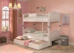 Detská poschodová posteľ Betty 90x200cm so zásuvkou - biela