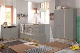 Detská izba Oliver II - sivá/dub svetlý