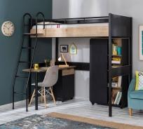 Študentská izba Sirius s vyvýšenou posteľou - dub čierny/dub zlatý