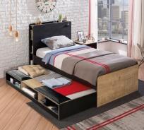 Detská posteľ s úložnou prístelkou Sirius 100x200cm - dub čierny/dub zlatý