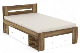Študentská posteľ REA Larisa 120x200cm s nočným stolíkom - orech rockpile