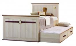 Študentská posteľ Cavalos 120x200cm s prístelkou - akácie svetlá/dub tmavý