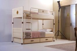 Poschodová posteľ s prístelkou Cavalos 90x200cm - akácia svetlá/dub tmavý