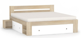 Manželská posteľ REA Larisa 180x200cm s nočnými stolíkmi - dub bardolino