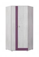 Rohová šatníková skriňa Delbert 2 - bielená borovica/fialová