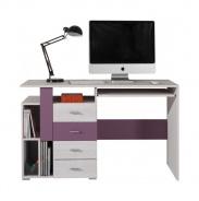 Písací stôl Delbert 13 - borovica/fialová