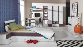 Detská izba Delbert C - borovica/tmavo šedá