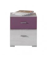 Nočný stolík Delbert 17 - borovica / fialová