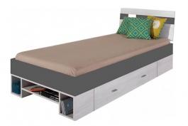 Detská posteľ Delbert 90x200cm - borovica / tmavo sivá