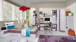 Detská izba Delbert B - borovica/fialová