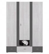 Šatníková skriňa Delbert 1 - borovica/tmavo šedá