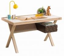 Moderný písací stôl Oscar - dub svetlý/biela/hnedá