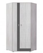 Rohová šatníková skriňa Delbert 2 - bielená borovica/tmavo šedá