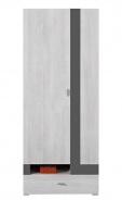 Šatníková skriňa Delbert 3 - bielená borovica/tmavo šedá