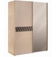 Moderná šatníková skriňa Oscar s posuvnými dverami a zrkadlom - dub svetlý/béžová/hnedá