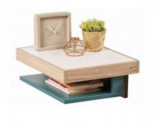 Závesný nočný stolík Oscar - dub svetlý/biela/modrá