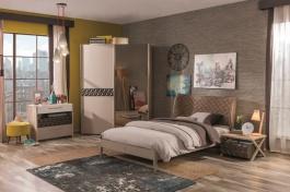Moderná študentská izba Oscar II - dub svetlý/biela/béžová/hnedá