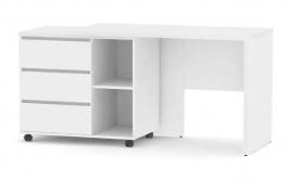 Písací stôl s otočným kont. REA Roy, L/P - biela