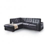 Rozkládací rohová sedací souprava s úložným prostorem, L provedení, kůže YAK M6900 černá, TREK VELKÝ ROH