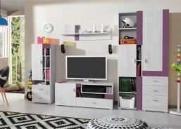 Detská izba Delbert D1 - borovica/fialová